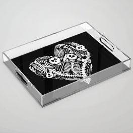 Skeletal Love Heart  (Black) Skulls and Bones Acrylic Tray