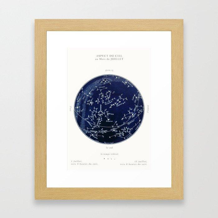 French July Star Maps in Deep Navy & Black, Astronomy, Constellation, Celestial Framed Art Print
