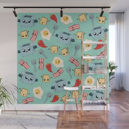 Kawaii Breakfast Pattern Wall Mural