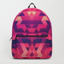 Abstract symmetric geometric triangle texture pattern design in diabolic future red Backpack