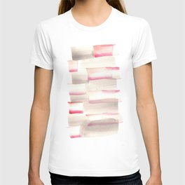 [170105] 4 Color Study Pink Brown|Watercolor Brush Stroke T-shirt