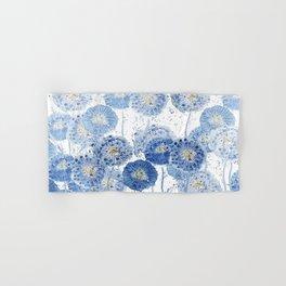 blue indigo dandelion pattern watercolor Hand & Bath Towel