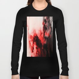 In Pain - Red And Black Abstract Long Sleeve T-shirt