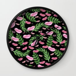 flying leaves in pink Wall Clock