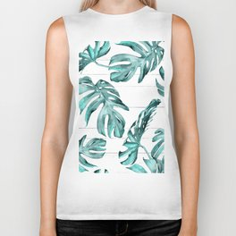 Turquoise Palm Leaves on White Wood Biker Tank