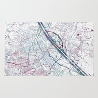 vienna Area & Throw Rugs featuring Vienna map by MapMapMaps.Watercolors