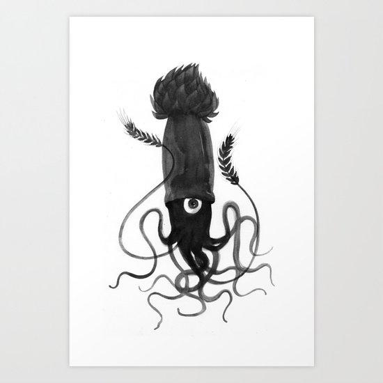 Beer Squid Art Print