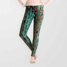 Retro Bohemian Gypsy Beaded Dangles // Vertical Gradient Chocolate Brown, Turquoise, Teal Leggings