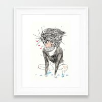 meow Framed Art Prints featuring meow by withapencilinhand