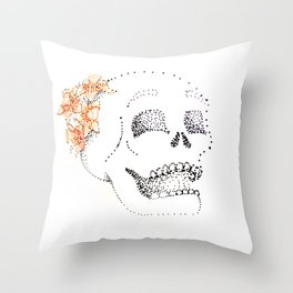 Daffodil Skull Throw Pillow