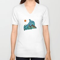dolphin V-neck T-shirts featuring Dolphin by gretzky