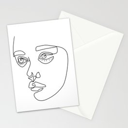 Cute line girl face Stationery Cards