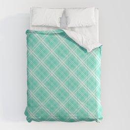 Pale Blue and White Diagonal Plaid Tartan Check Comforters