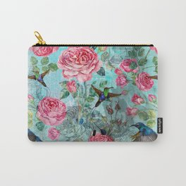 Vintage Watercolor hummingbird and English Roses Carry-All Pouch