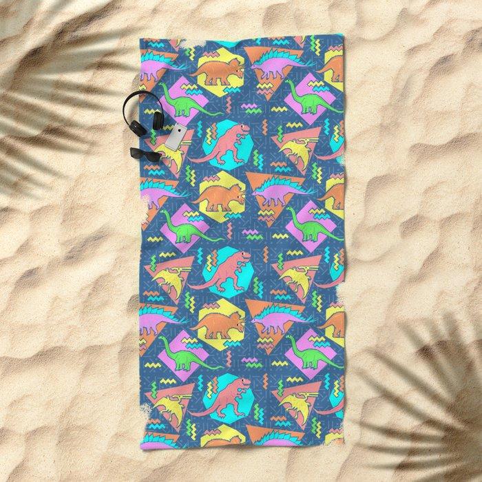Nineties Dinosaur Pattern Beach Towel
