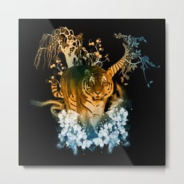 Beautiful tiger with flowers Metal Print