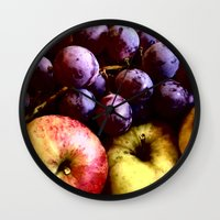 fruits Wall Clocks featuring FRUITS by MehrFarbeimLeben
