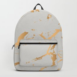 Gray and gold faux marble Backpack