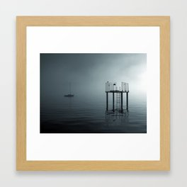 fog on the lake Framed Art Print