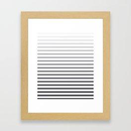 Gray and White Ombre Stripes Framed Art Print