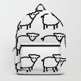 Cute Transparent Sheep Flock in Rows Monotone Light Backpack