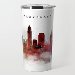 Cleveland Watercolor Skyline Travel Mug