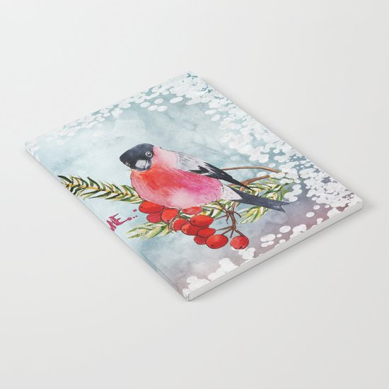 Winter Wondertime - Merry christmas- Little finch on branch-covered with snow Notebook