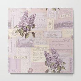 Vintage Flyers and Lilacs Metal Print