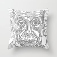 einstein Throw Pillows featuring Einstein  by Jess Moore