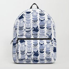 Swedish folk cats III // white background pale and navy blue kitties & bowls Backpack