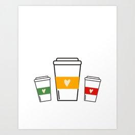 Cafecito Coffee Cups Art Print