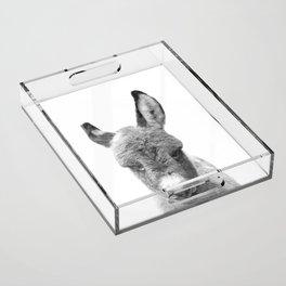 Black and White Baby Donkey Acrylic Tray