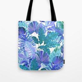 Tropical Leaf Blue Tote Bag