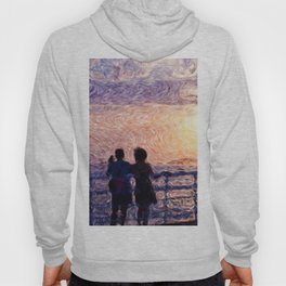 Magical evening, couple looking at the sunset on the Adriatic sea Hoody
