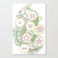 dbz Canvas Prints featuring DBZ- Shenron Linear Color by Li Boggs