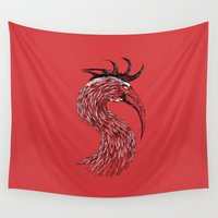 fierce Wall Tapestries featuring Fierce Raptor by Michal Malacek