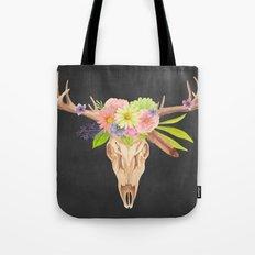 Deer Skull and Flowers Tote Bag