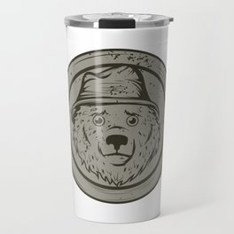 Cool Gift For The Smokey Bear Fan In Your Life T-shirt Design Of A Bear Wearing A Hat In Gray Tone Travel Mug