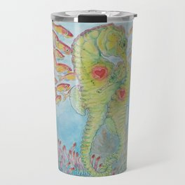 Happy Seahorse Family and Ocean Friends Travel Mug