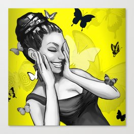 Retro Pinup Girl Crazy With Laughter & Butterflies Canvas Print