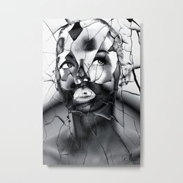 WOMAN IN BLACK WHITE Metal Print
