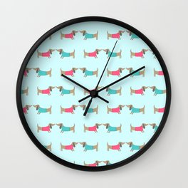 Cute dog lovers in mint background Wall Clock