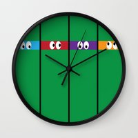 ninja turtles Wall Clocks featuring Teenage Mutant Ninja Turtles by Jennifer Agu