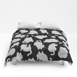 Silver Cats on Black Kitty Pattern Comforters