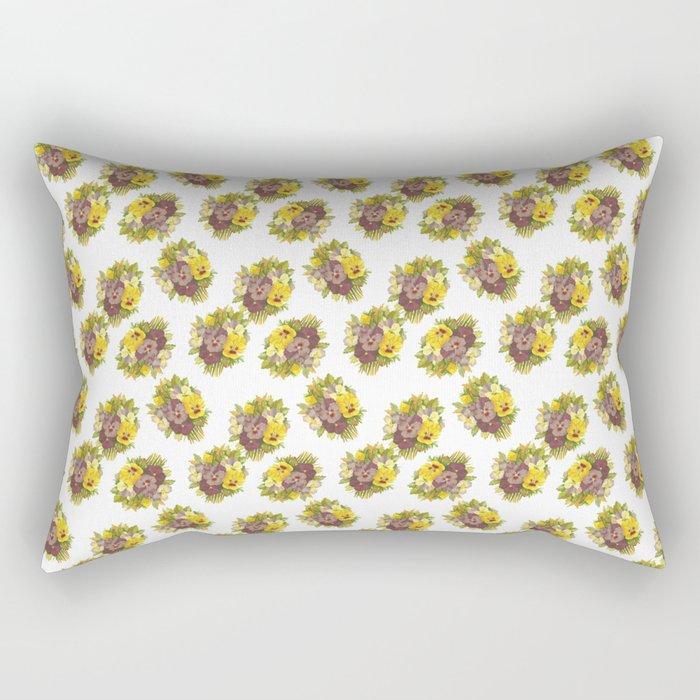 Butter Yellow Pansies Pattern Rectangular Pillow