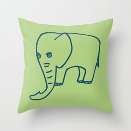 Elephant olive blue Throw Pillow