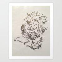 tea fox Art Print