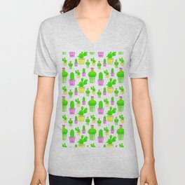 the cactus pattern Unisex V-Neck