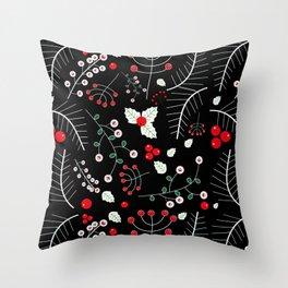 mistletoe black Throw Pillow
