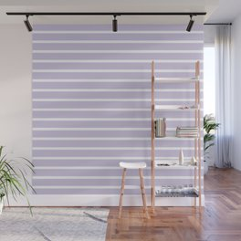 Lilac and White Horizontal Stripes Pattern Wall Mural